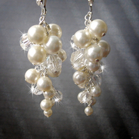 Jewelry, Bridesmaids, Bridesmaids Dresses, Romantic Wedding Dresses, Fashion, white, ivory, silver, Earrings, Bride, Bubbles, Romantic, Bridesmaid, Bridal, Long, Pearls, Elegant, Grapes, Couture, Weddings, Cream, Swarovski, Flowergirl, Chandelier, Pearl, Haute, Crystals, Rhinestones, Dangle, Cluster