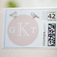 Stationery, pink, brown, Invitations, Monogram, Bird, Stamp