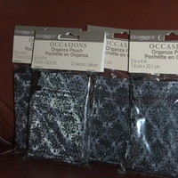 Favors & Gifts, black, favor, Bags, Damask, Organza