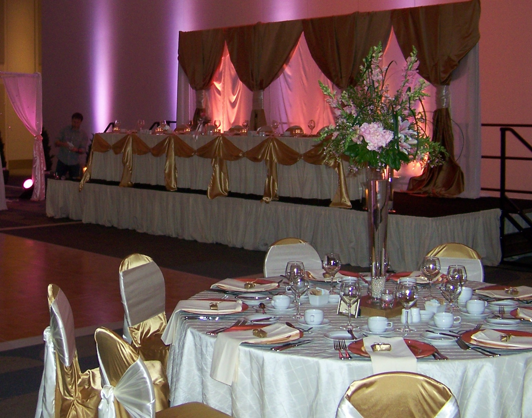 Reception, Flowers & Decor, pink, gold, Watkins event decor