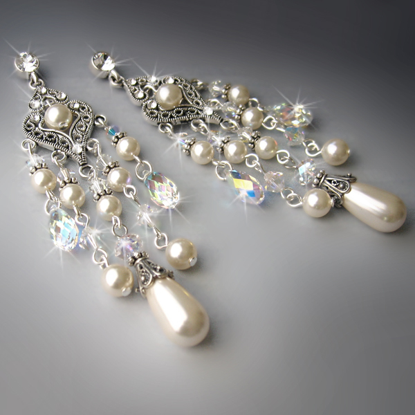 Jewelry, Bridesmaids, Bridesmaids Dresses, Wedding Dresses, Romantic Wedding Dresses, Vintage Wedding Dresses, Fashion, white, ivory, silver, dress, Earrings, Brooches, Vintage, Bride, Romantic, Bridal, Long, Elegant, Theme, Crystal, Couture, Cream, Swarovski, Brooch, Pearl, Dangling, Haute, Crystals, Rhinestones