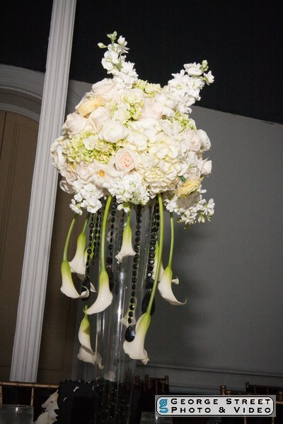 Reception, Flowers & Decor, white, black, Flowers, llc, Virtuous events