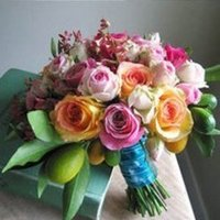 Flowers & Decor, orange, pink, blue, Bride Bouquets, Flowers, Bouquet