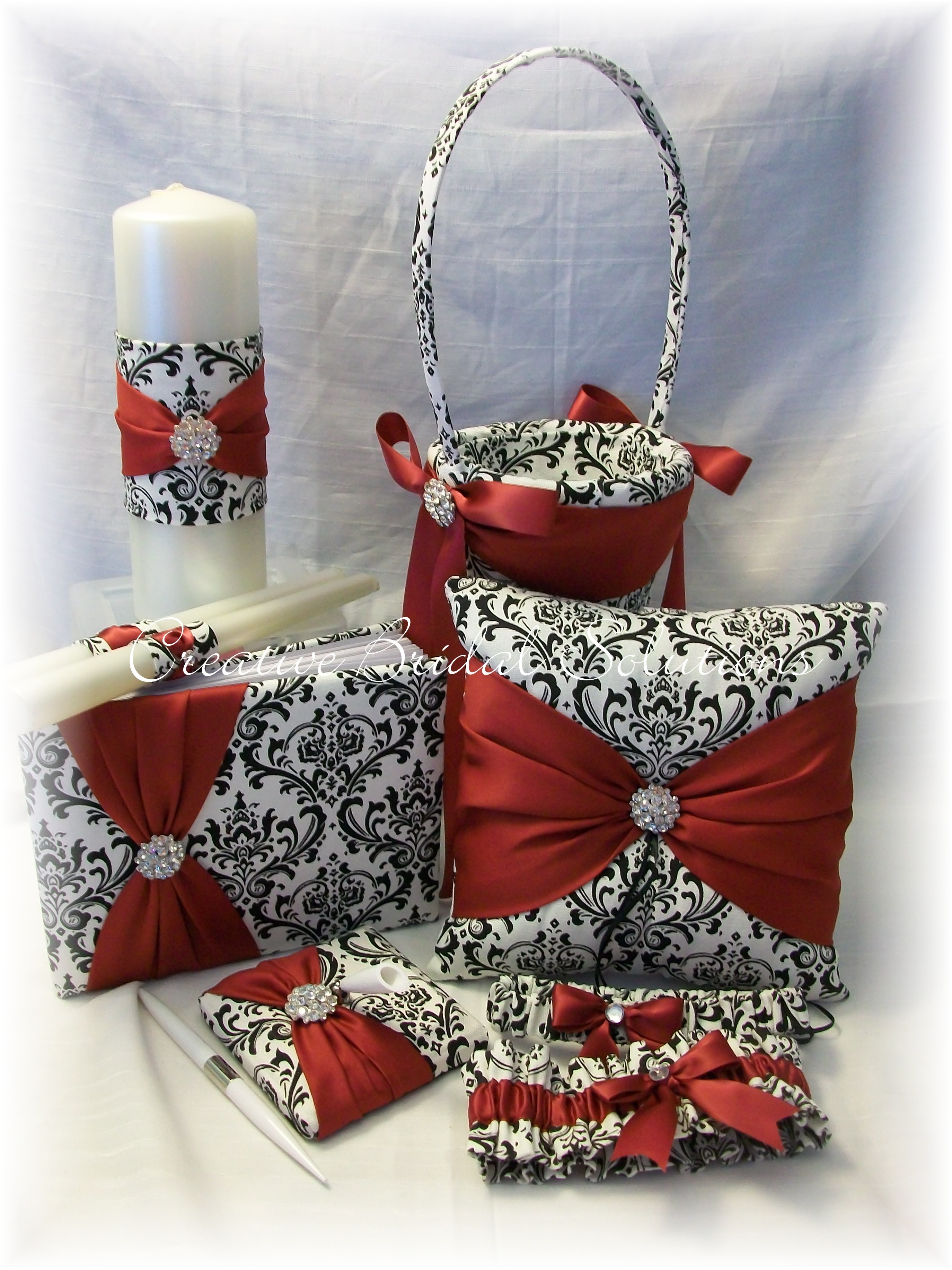 Red black and white damask wedding decorations damask wedding black and white madison damask with dark red wedding pc set vendors mightylinksfo Images
