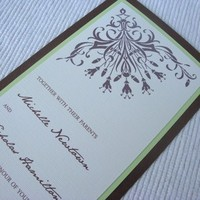 Stationery, white, ivory, green, brown, Invitations, Asian, Tea, Damask, Length, Invites by jen, Eggshell