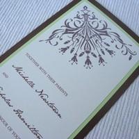 Stationery, white, ivory, green, brown, Invitations, Asian, Tea, Damask, Length, Invites by jen, Eggshell