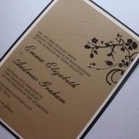 Stationery, white, ivory, brown, black, Fall, Invitations, Floral, Taupe, Invites by jen, Eggshell