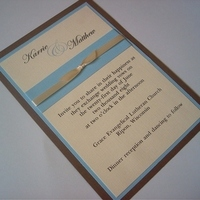 Stationery, white, ivory, blue, brown, Invitations, Tiffany, Ribbon, Bow, Light, Invites by jen, Eggshell