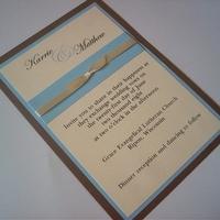 Stationery, white, ivory, blue, brown, Invitations, Tiffany, Ribbon, Bow, Light, Invites by jen, Eggshell