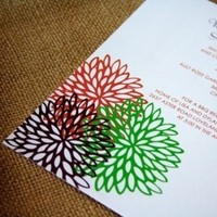 Flowers & Decor, Stationery, white, orange, red, purple, green, Modern, Modern Wedding Invitations, Invitations, Flower, Izzy and the bean design
