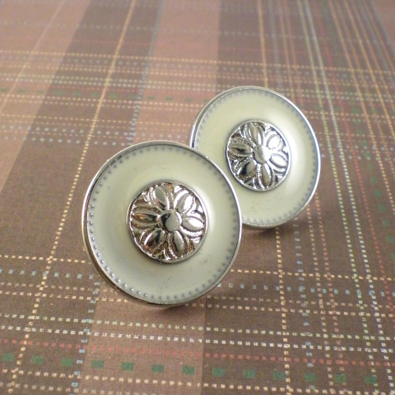 Jewelry, Bridesmaids, Bridesmaids Dresses, Vintage Wedding Dresses, Fashion, white, ivory, yellow, silver, Earrings, Vintage, Bride, Bridesmaid, Bridal, Button, Cream, Old, Earring, Dana saylor designs, Post, Enamel