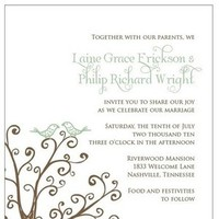 Stationery, white, green, brown, Invitations, Birds, Tree, Lovebirds, Izzy and the bean design