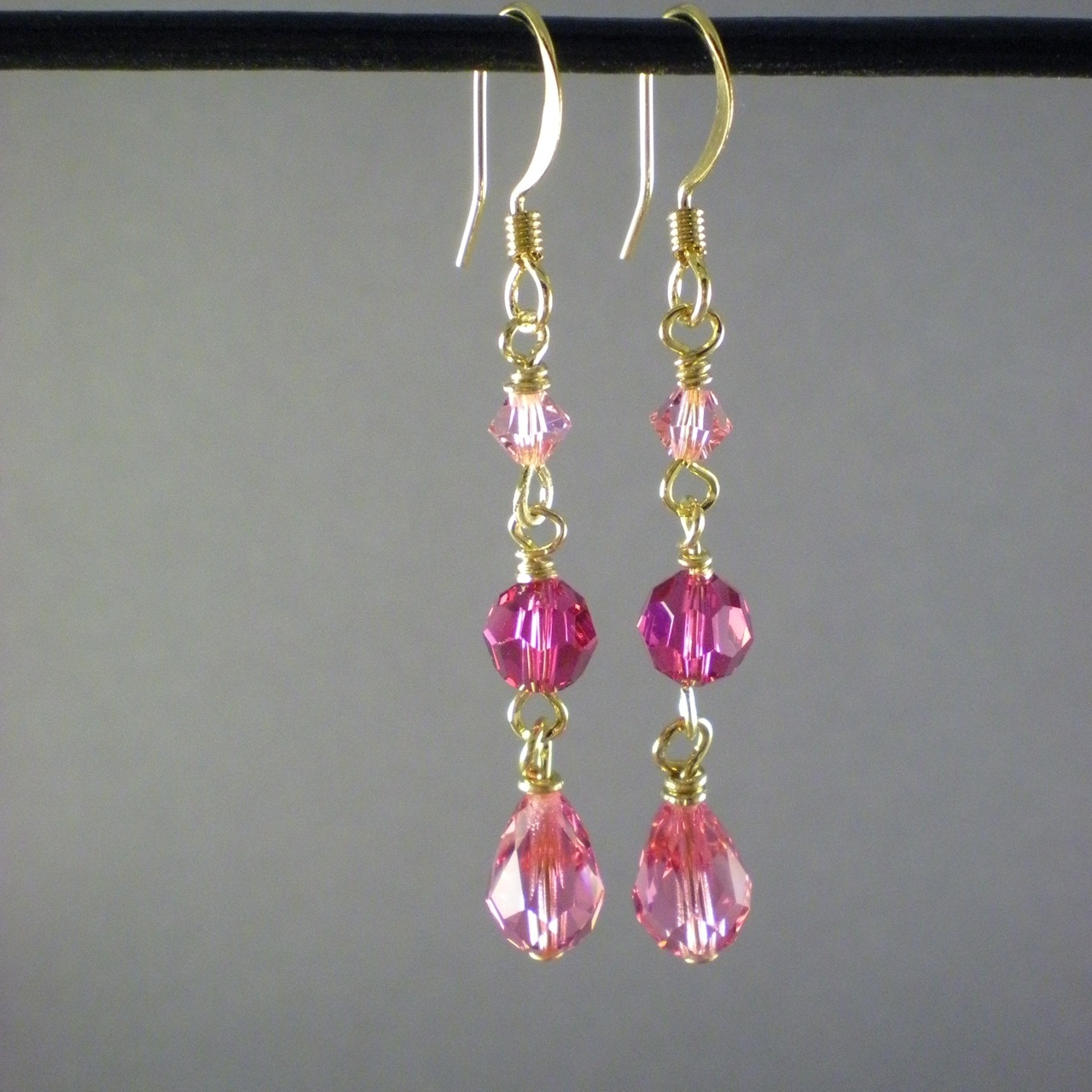 Jewelry, Bridesmaids, Bridesmaids Dresses, Fashion, pink, red, gold, Earrings, Bride, Bridesmaid, Bridal, Rose, Crystal, Swarovski, Teardrop, Dana saylor designs, Fuchsia, Briolette, Wire