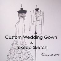 Fashion, Men's Formal Wear, Portrait, Gown, Wedding, Custom, Tuxedo, Sketch, Art, Megan hamilton weddings