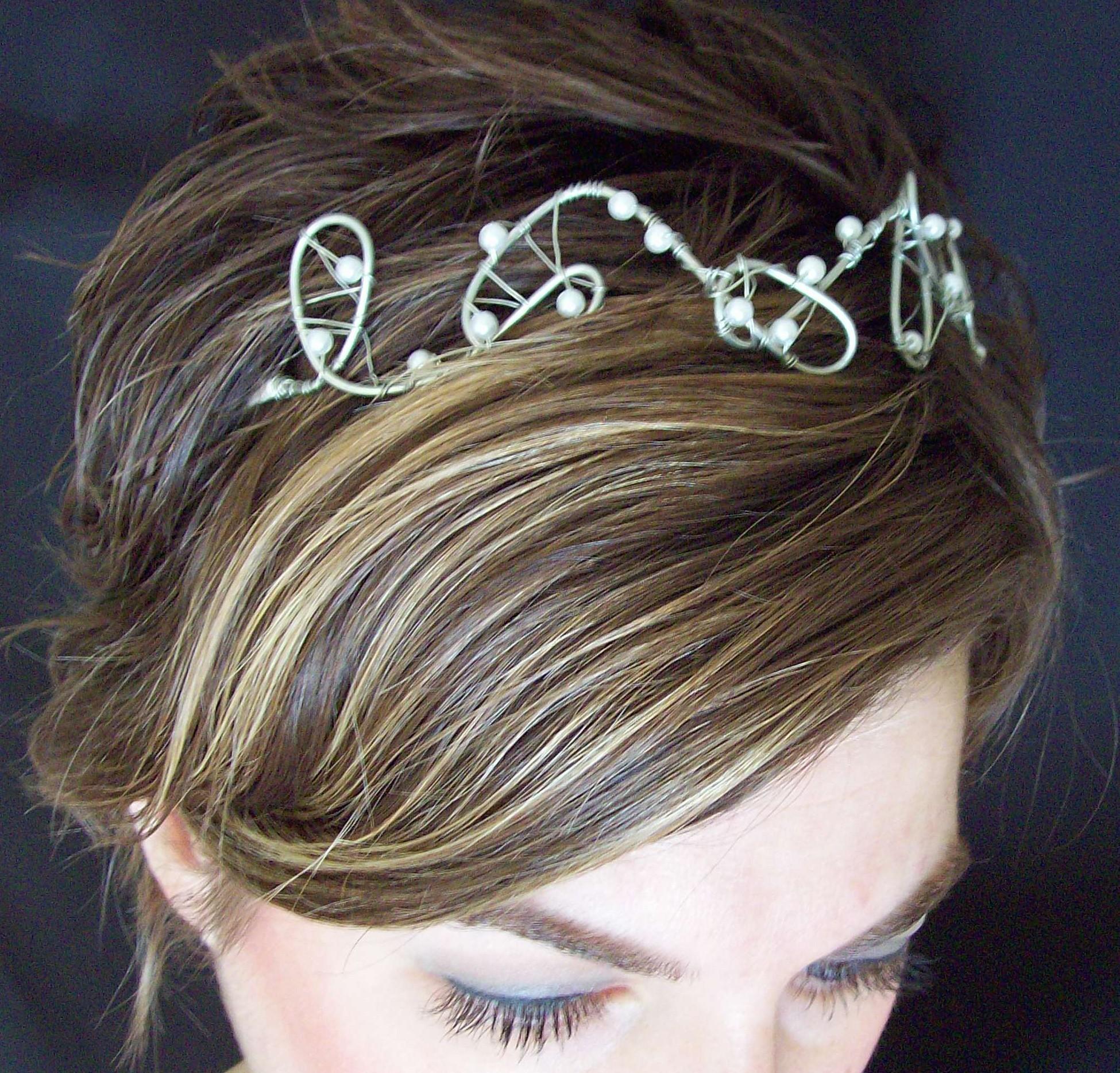 Beauty, Jewelry, white, silver, Tiaras, Hair, Tiara, Pearls, Headpiece, Handmade, Megan hamilton weddings