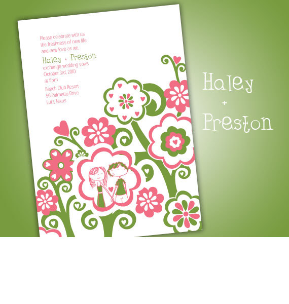 Flowers & Decor, Stationery, Paper, pink, green, Spring, Summer, Invitations, Flowers, Programs, Cards, The, Letterpress, Save, You, Thank, Teardrop, Dates, Whimsical