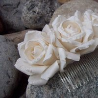 Beauty, Flowers & Decor, ivory, Flowers, Roses, Hair, Headpiece, Haircomb, Parchment, Megan hamilton weddings