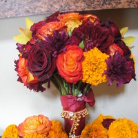 Flowers & Decor, Jewelry, Bridesmaids, Bridesmaids Dresses, Fashion, yellow, red, gold, Bride Bouquets, Bridesmaid Bouquets, Flowers, Bouquet, With, Indian, Marigold, Flower Wedding Dresses
