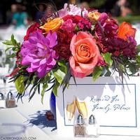 Reception, Flowers & Decor, orange, pink, Centerpieces, Outdoor, Flowers, Centerpiece, Wedding, Catie ronquillo photographer