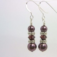 Jewelry, Bridesmaids, Bridesmaids Dresses, Fashion, white, yellow, pink, red, burgundy, purple, blue, green, black, silver, gold, Bracelets, Earrings, Bride, Wedding, Pearls, Crystal, Bracelet, Swarovski, Drop, Pearl, Eggplant, Crystals, Sterling, Dangle, Plum, Afinishingtouch