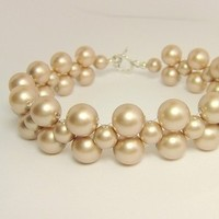 Jewelry, Bridesmaids, Bridesmaids Dresses, Fashion, white, ivory, yellow, pink, red, purple, blue, green, black, silver, gold, Bracelets, Bride, Wedding, Custom, Bridesmaid, Champagne, Pearls, Weddings, Bracelet, Swarovski, Color, Pearl, Light, Sterling, Multi, Strand, Almond, Afinishingtouch