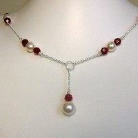 Jewelry, Bridesmaids, Bridesmaids Dresses, Fashion, white, yellow, pink, red, purple, blue, green, black, silver, gold, Necklaces, Bride, Wedding, Custom, Bridal, Pearls, Colors, Necklace, Swarovski, Drop, Pearl, Sterling, Chain, Afinishingtouch, A finishing touch jewelry, Toggle, Siam