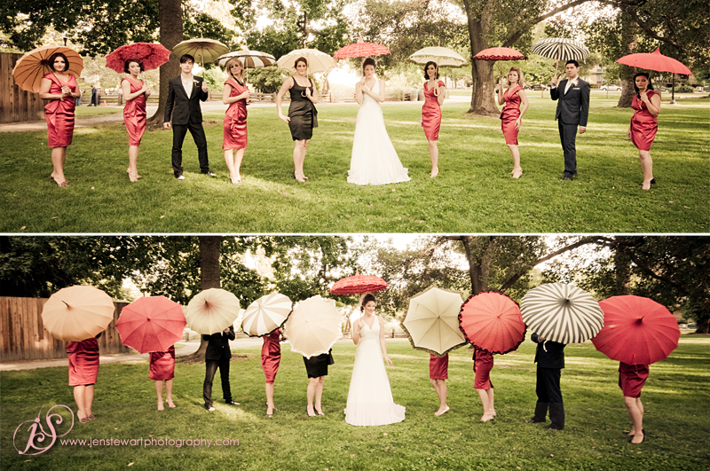 Bridesmaids, Bridesmaids Dresses, Wedding Dresses, Vintage Wedding Dresses, Fashion, red, dress, Vintage, Bride, Party, Bridal, Umbrella, Jen stewart photography, Brides-men