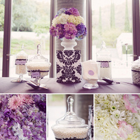 Reception, Flowers & Decor, white, black, Candy, Damask
