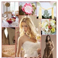 Inspiration, Reception, Flowers & Decor, Bridesmaids, Bridesmaids Dresses, Wedding Dresses, Fashion, white, ivory, yellow, pink, brown, dress, Bridesmaid Bouquets, Flowers, Macaroons, Board, Alvina valenta, Siri, Flower Wedding Dresses