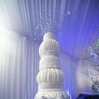 Reception, Flowers & Decor, Jewelry, Cakes, white, blue, silver, cake, Brooches, Winter, Brooch, Bow, Bling, Jennifer j events