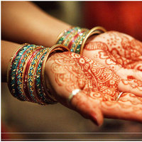 Destinations, orange, red, gold, North America, Bride, Wedding, Indian, Miami, Mendhi, Jennifer j events