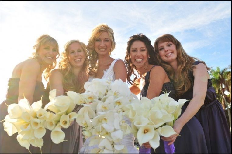 Ceremony, Reception, Flowers & Decor, Bridesmaids, Bridesmaids Dresses, Wedding Dresses, Fashion, white, purple, blue, dress, Ceremony Flowers, Bridesmaid Bouquets, Flowers, Calla, Lilies, Orchids, Jennifer j events, Flower Wedding Dresses