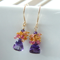 Flowers & Decor, Jewelry, Bridesmaids, Bridesmaids Dresses, Fashion, yellow, pink, purple, gold, Earrings, Spring, Bride, Flower, Girl, Amethyst, Sapphires, Handcrafted, Filled, 14k, Limited, Edition, Loella medina handcrafted jewelry, Spring Wedding Dresses