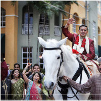 Destinations, white, orange, red, gold, North America, Groom, Wedding, Indian, Procession, Horse, Miami, Baraat, Jennifer j events