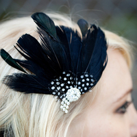 Beauty, Ceremony, Reception, Flowers & Decor, Bridesmaids, Bridesmaids Dresses, Fashion, white, black, silver, Feathers, Comb, Flower, Bridesmaid, Hair, Bridal, Crystal, Rhinestone, Fascinator, Clip, Feather, Tessakim, Tessa kim, Guniea, Feather Wedding Dresses