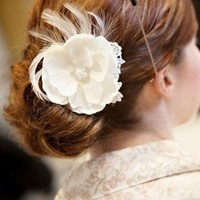 Beauty, Ceremony, Reception, Flowers & Decor, Bridesmaids, Bridesmaids Dresses, Lace Wedding Dresses, Fashion, white, silver, Feathers, Comb, Flower, Hair, Bridal, Lace, Head, Pearl, Piece, Clip, Fascinators, Tessa kim, Crytal, Feather Wedding Dresses