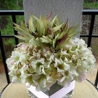 Inspiration, Reception, Flowers & Decor, Cakes, white, pink, purple, green, cake, Centerpieces, Flowers, Wedding, Lilies, Board, Hydrangea, Silks, Savannah event decor