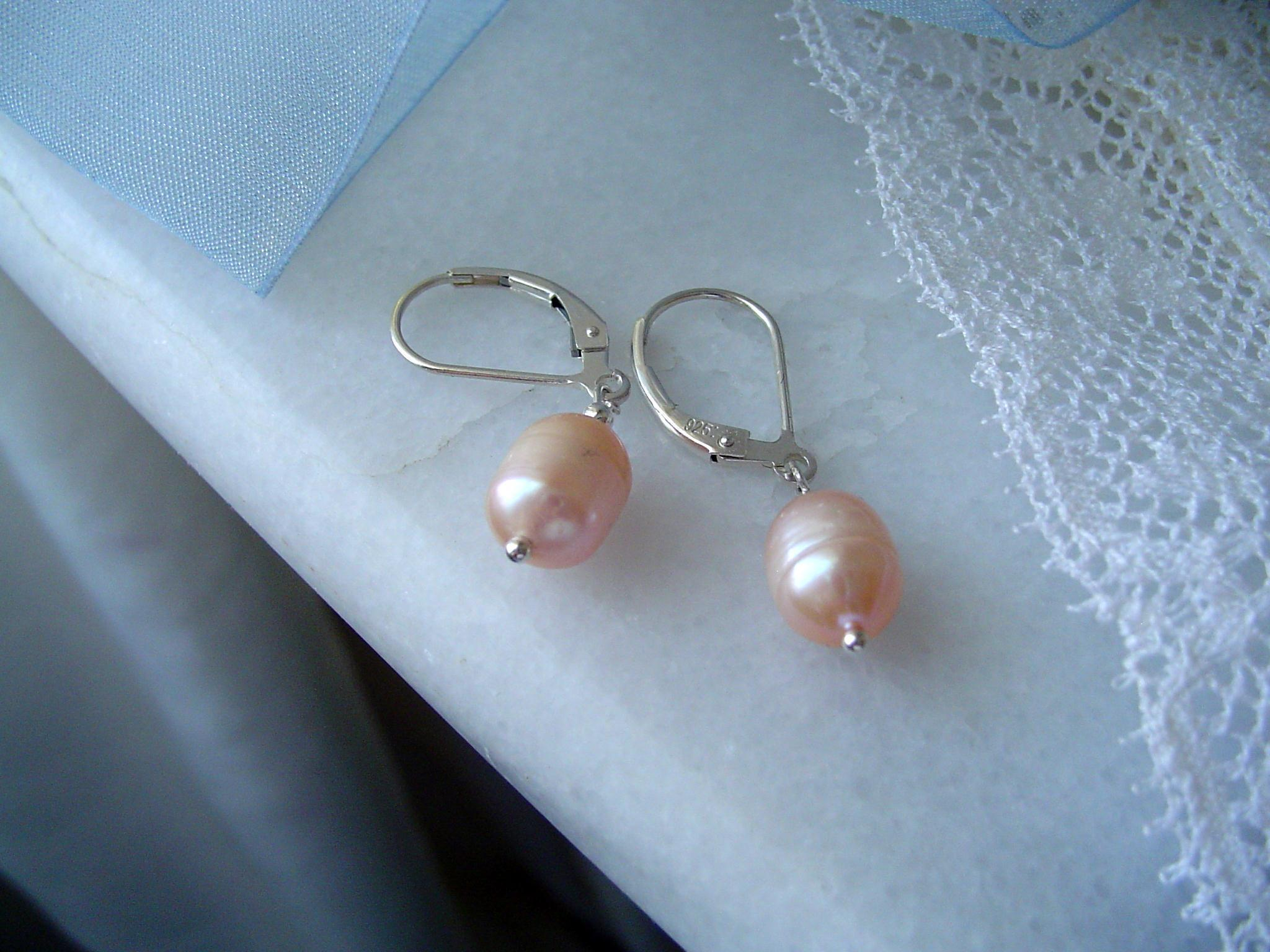 Jewelry, pink, silver, Earrings, Classic, Gift, Peach, Pearl, Feminine, Genuine, Attendant, A little practicality