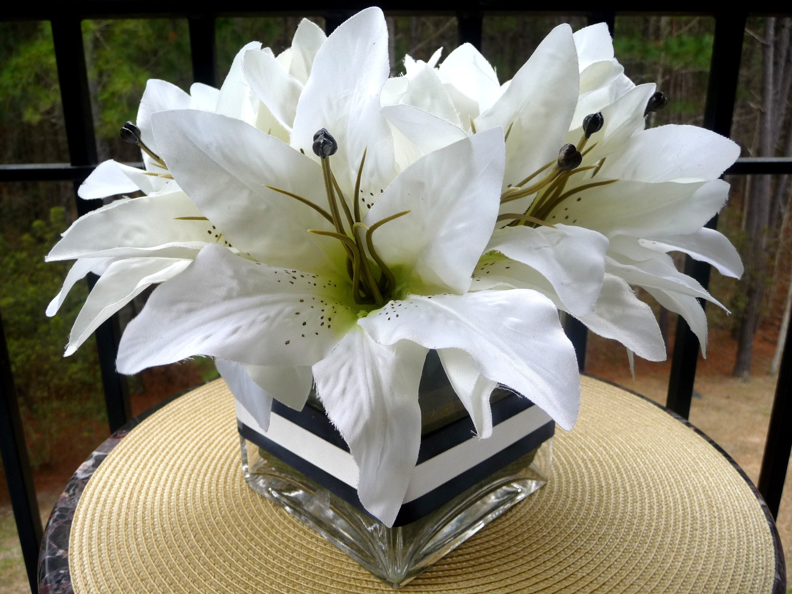 Ceremony, Inspiration, Reception, Flowers & Decor, white, black, Ceremony Flowers, Centerpieces, Flowers, Centerpiece, Wedding, Lilies, Board, Silk, Luncheon, Savannah event decor