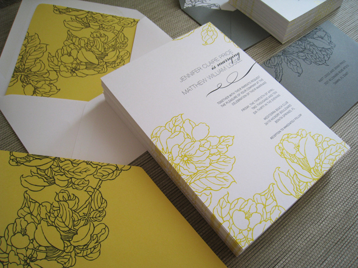 Flowers & Decor, Stationery, yellow, gray, silver, invitation, Bride Bouquets, Modern, Classic, Bride, Classic Wedding Invitations, Garden Wedding Invitations, Modern Wedding Invitations, Vineyard Wedding Invitations, Invitations, Flowers, Classic Wedding Flowers & Decor, Modern Wedding Flowers & Decor, Wedding, Elegant, Invite, Citrus press co