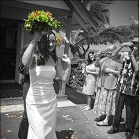 Ceremony, Flowers & Decor, Destinations, orange, purple, blue, green, Destination Weddings, Hawaii, Ceremony Flowers, Flowers, Wedding, Orchids, Destination wedding, Petal toss, N-joy weddings events