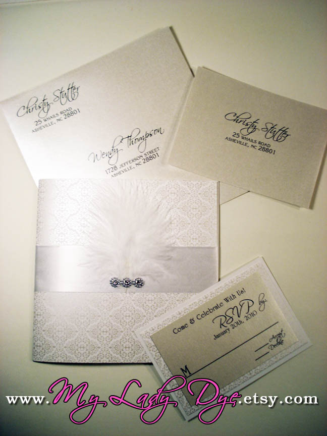 Beauty, Stationery, white, silver, invitation, Feathers, Vintage, Classic, Classic Wedding Invitations, Vintage Wedding Invitations, Invitations, Menu, Wedding, Custom, Table, Program, Elegant, Placecard, The, Number, Save, Date, Card, Diamond, Feather, My lady dye