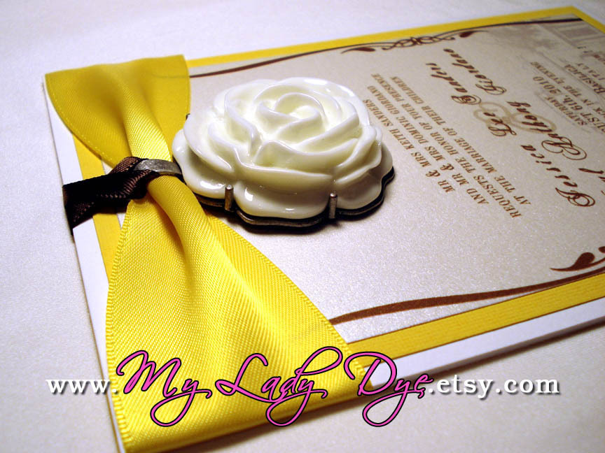 Stationery, white, yellow, brown, gold, invitation, Invitations, Place Cards, Menu, Wedding, Custom, Gift, Table, Program, Elegant, Placecards, Boxed, The, Number, Save, Date, Card, Invite, Embellished, My lady dye