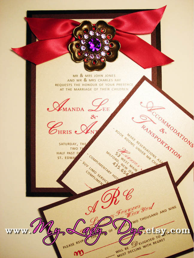 Stationery, pink, red, purple, black, invitation, Glam Wedding Invitations, Invitations, Wedding, Custom, Gift, Elegant, Boxed, Invite, Fancy, Medallion, Bejeweled, Embellished, My lady dye, Pendent