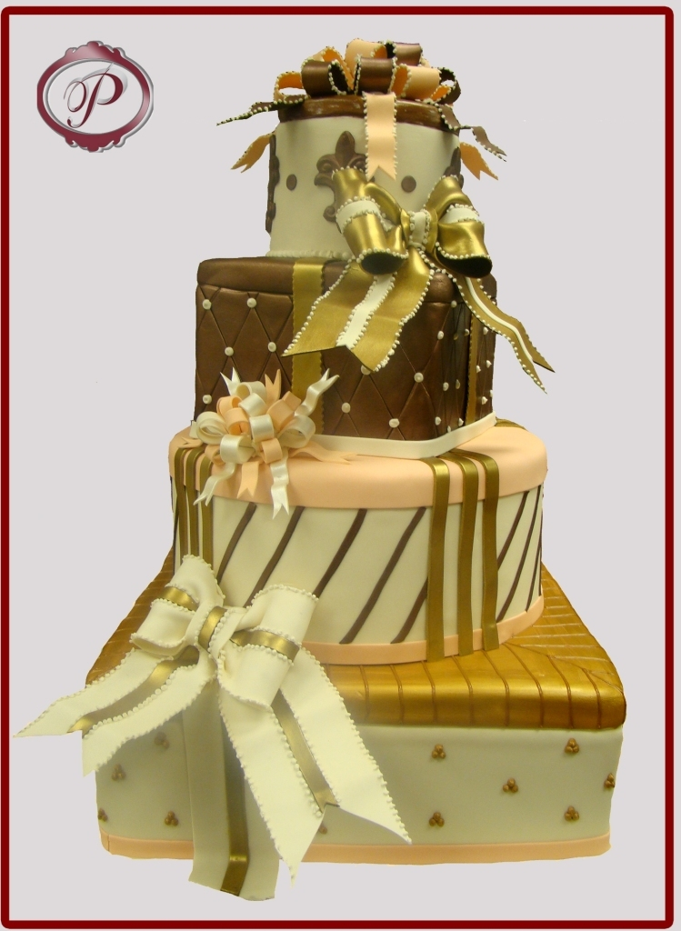 Cakes, white, orange, brown, gold, cake, Wedding, Fondant, Gift, Fun, Box, Colored, Palermo bakery