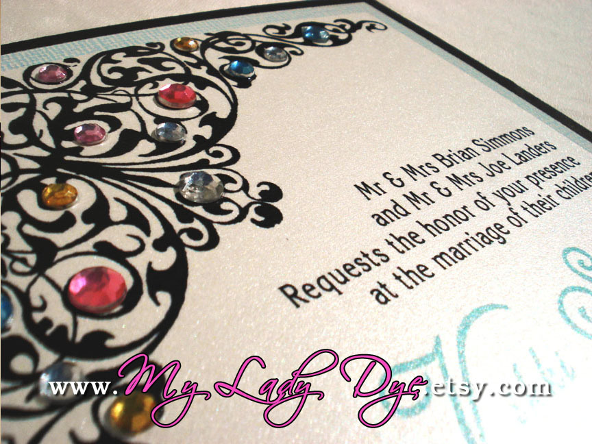 Stationery, white, yellow, orange, pink, red, purple, green, black, invitation, Invitations, Wedding, Custom, Gift, Elegant, Boxed, Theme, Invite, Damask, Layered, Fancy, Medallion, Bejeweled, Embellished, My lady dye, Pendent