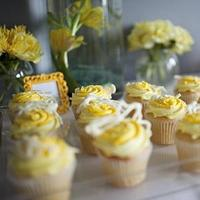 Reception, Flowers & Decor, Cakes, yellow, blue, cake, planner, Cupcakes, Wedding, Table, Desert, Garland, Edmonton, A modern proposal event planning, Macroons