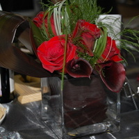 Reception, Flowers & Decor, red, black, silver, Centerpieces, Tables & Seating, Flowers, Centerpiece, Linens, Tables, Pour etre joli, Tablescape