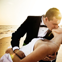 Destinations, yellow, gold, Destination Weddings, Beach, Summer, Portrait, Bride and groom, Kiss, Dip, Sunset, Sand, Destination wedding, Sun, Sun flare, Dipping, Wedlock images, Occean