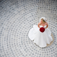 Wedding Dresses, Fashion, white, dress, Bride, Portrait, Wedding dress, Patio, Brick, Wedlock images, Birds eye view, Arial view, Brick patio